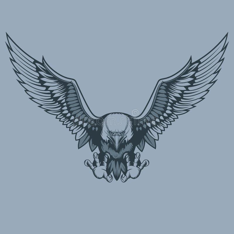 Επιτιθειμένος αετός, ύφος δερματοστιξιών διανυσματική απεικόνιση