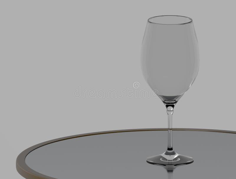 επιτραπέζιο κρασί γυαλι&o τρισδιάστατη απόδοση ελεύθερη απεικόνιση δικαιώματος