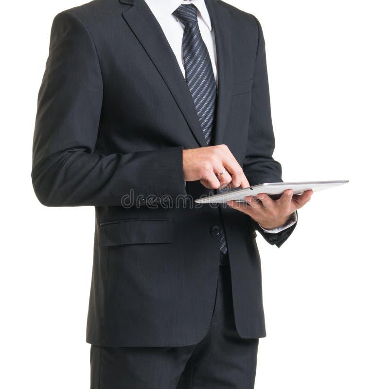 Επιχειρηματίας στο κοστούμι που απομονώνεται στο λευκό Κινηματογράφηση σε πρώτο πλάνο του ατόμου σε formalwear στοκ εικόνα με δικαίωμα ελεύθερης χρήσης