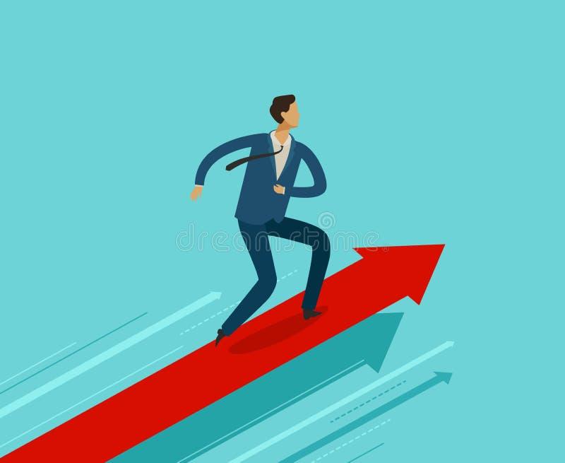 Επιχειρηματίας που τρέχει στη γραφική παράσταση αύξησης Επιτυχία, επίτευγμα, σημαντική έννοια Επιχείρηση Infographics ελεύθερη απεικόνιση δικαιώματος