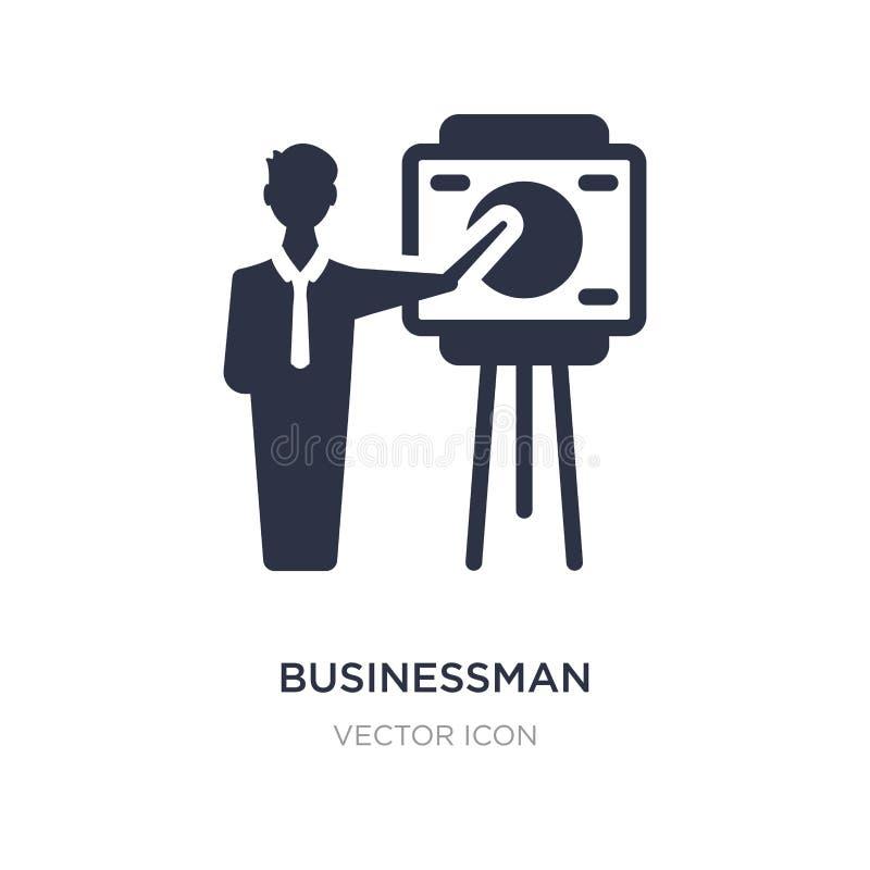 επιχειρηματίας που παρουσιάζει εικονίδιο σκίτσων προγράμματος στο άσπρο υπόβαθρο Απλή απεικόνιση στοιχείων από την επιχειρησιακή  ελεύθερη απεικόνιση δικαιώματος