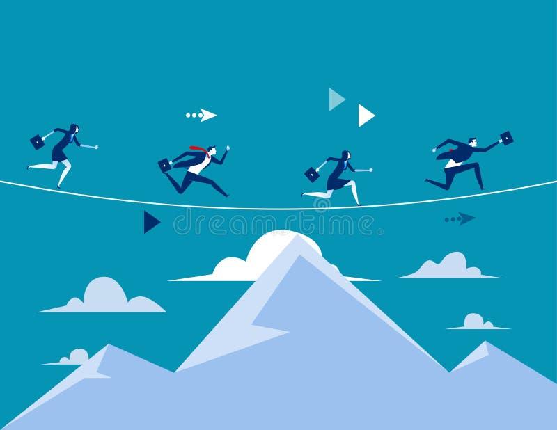 Επιχειρηματίες που τρέχουν πέρα από το βουνό Επιχειρησιακή διανυσματική απεικόνιση έννοιας Επίπεδο σχέδιο ύφους απεικόνιση αποθεμάτων