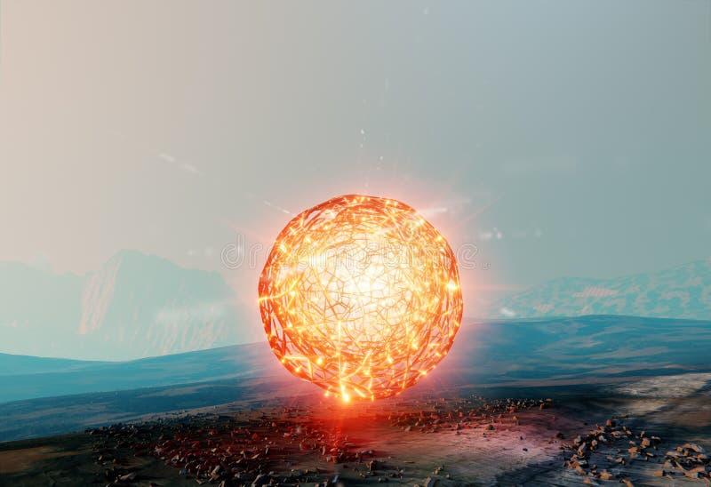 Επιπλέουσα σφαίρα ελαφριού, ενάντιος στη βαρύτητα που βρίσκεται στον Άρη απεικόνιση αποθεμάτων
