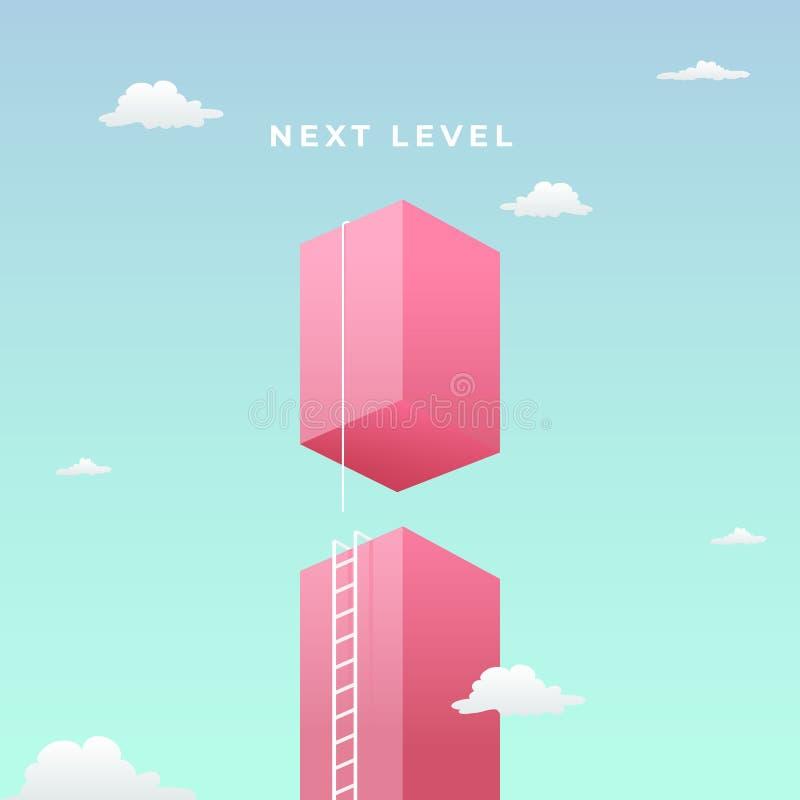 Επόμενο επίπεδο στο οπτικό σχέδιο έννοιας επιτυχίας υψηλός γιγαντιαίος τοίχος προς τον ουρανό με την ψηλή σκάλα και τον επόμενο π ελεύθερη απεικόνιση δικαιώματος