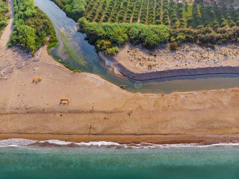 Εstuaries of the river Neda at Peloponnese, Greece. View from above of the estuaries of the river Neda at western Peloponnese, Greece royalty free stock photos