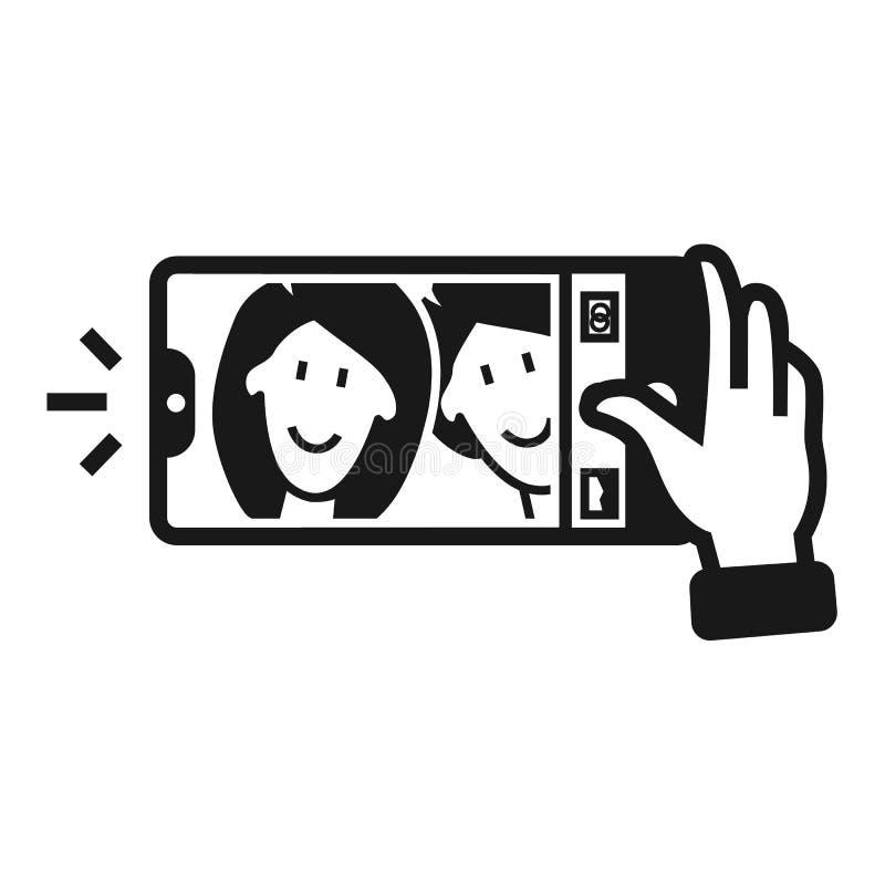 Ζεύγος που παίρνει selfie το εικονίδιο, απλό ύφος απεικόνιση αποθεμάτων