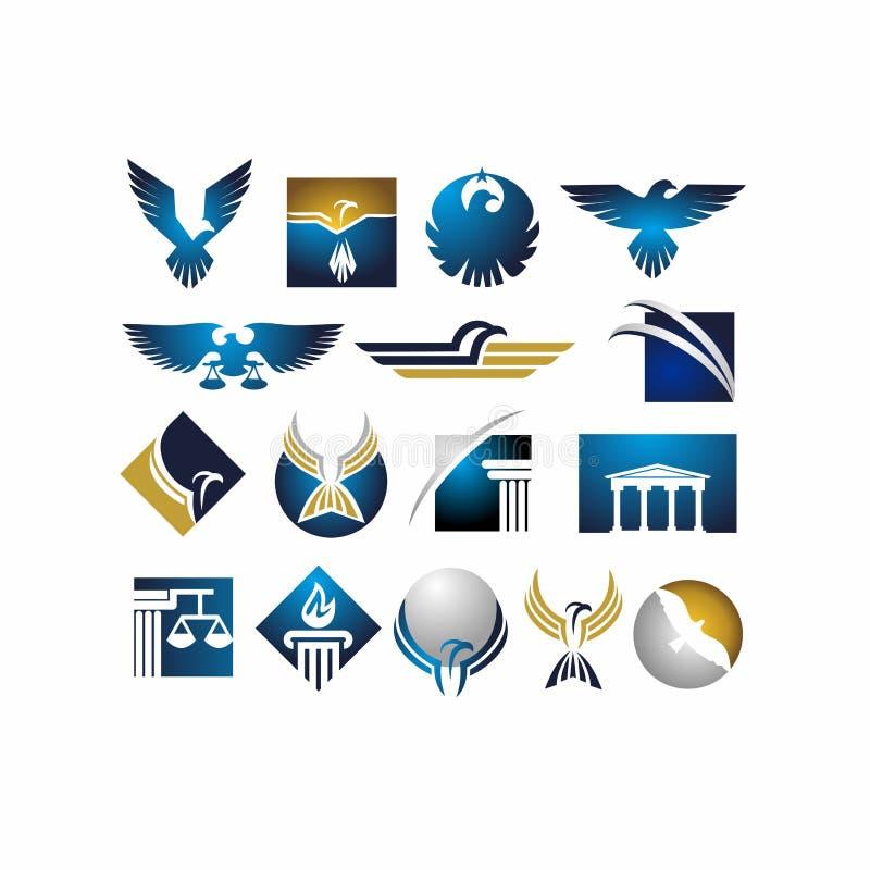 Ζώο, αετός, πουλί, νομικό, νόμος, δικαιοσύνη, γεράκι, προσφυγή στο δικαστήριο στο σύνολο εικονιδίων απεικόνισης ελεύθερη απεικόνιση δικαιώματος
