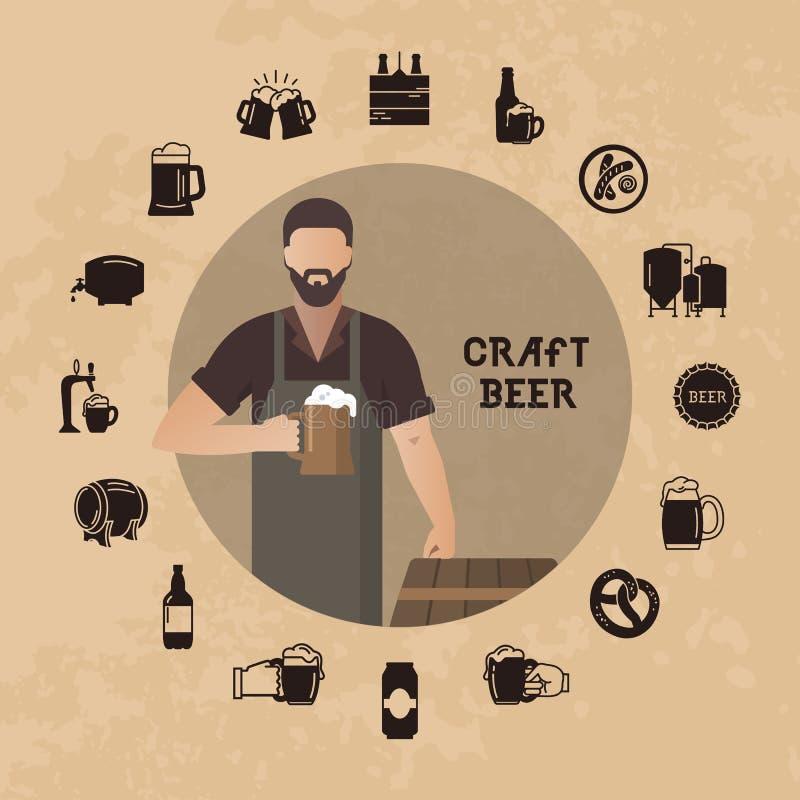 Ζυθοποιείο ζυθοποιών με μια μπύρα στην μπύρα επίδειξης χεριών κοντά στα βαρέλια στη διανυσματική απεικόνιση διανυσματική απεικόνιση