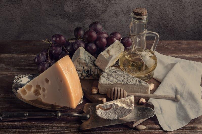 ζωή τυριών ακόμα Τυρί maasdamer, brie, camembert, vinograd, MED στοκ εικόνες με δικαίωμα ελεύθερης χρήσης