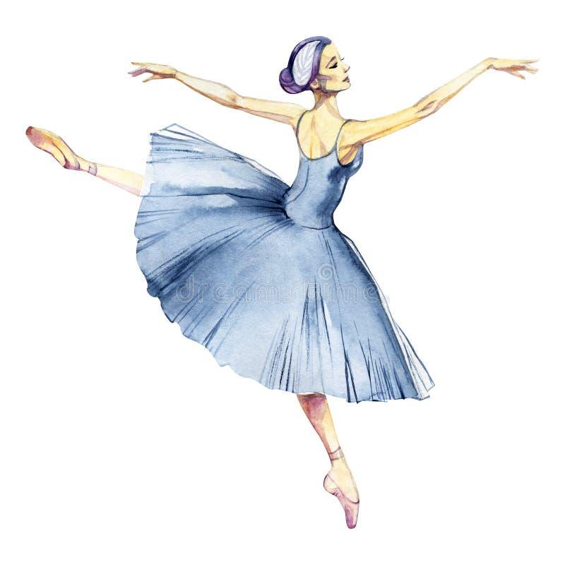 Ζωγραφική watercolor χορού Ballerina που απομονώνεται στην άσπρη ευχετήρια κάρτα υποβάθρου απεικόνιση αποθεμάτων