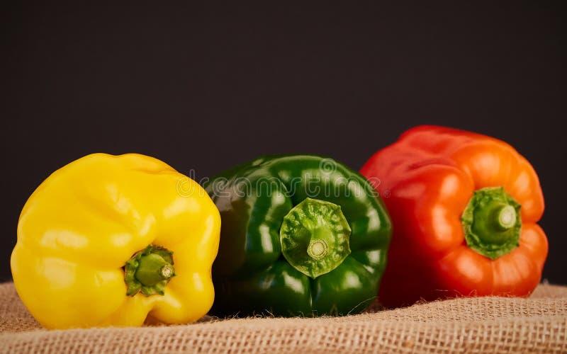 Ζωηρόχρωμα πιπέρια στο αγροτικό υπόβαθρο στοκ φωτογραφίες με δικαίωμα ελεύθερης χρήσης