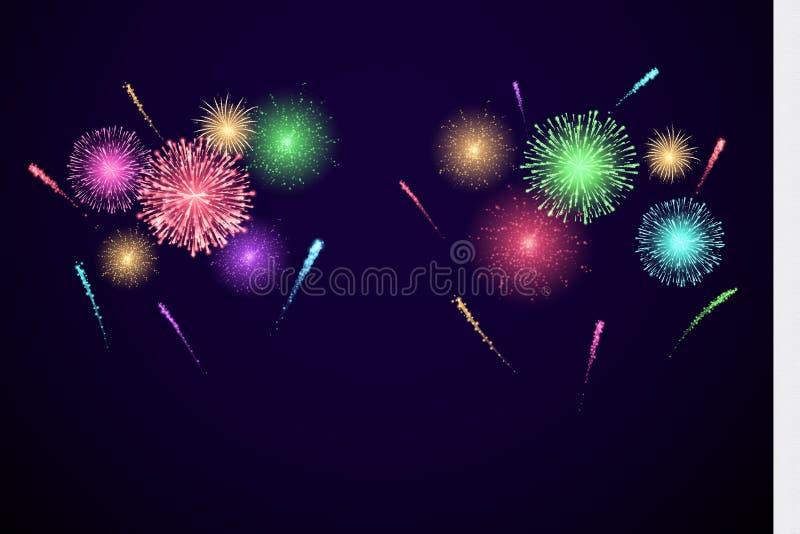 Ζωηρόχρωμα πυροτεχνήματα φεστιβάλ έμβλημα για Diwali και ather τις διακοπές και το γεγονός Διανυσματική απεικόνιση που απομονώνετ διανυσματική απεικόνιση