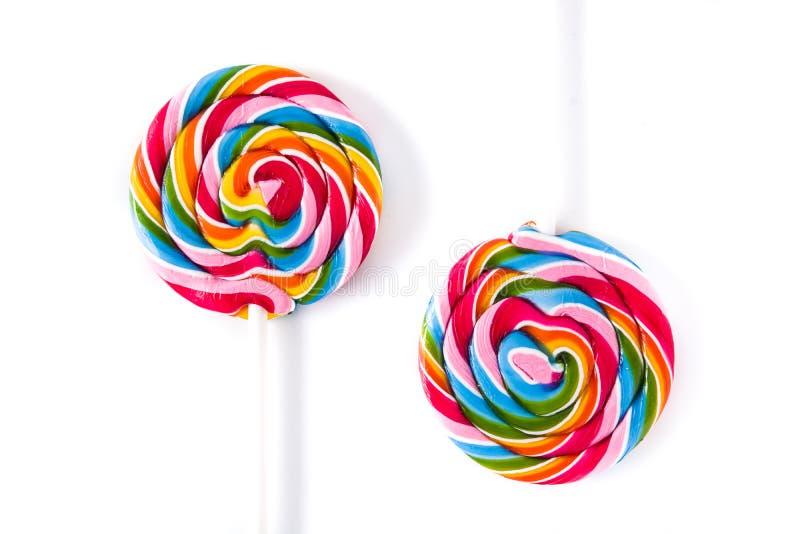 Ζωηρόχρωμα lollipops που απομονώνονται στο άσπρο υπόβαθρο στοκ εικόνες