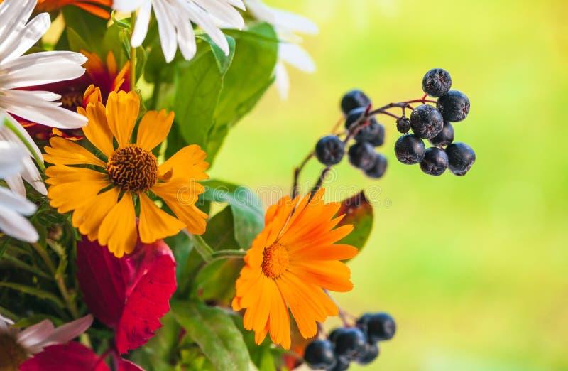 Ζωηρόχρωμη θερινή ανθοδέσμη, μικτά λουλούδια στοκ εικόνα