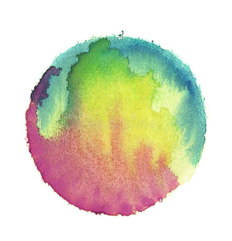 Ζωηρόχρωμη σφαίρα watercolor αφηρημένη ζωγραφική Μπλε, πράσινο, κίτρινο και ροδανιλίνης χρώμα Κενή πολύχρωμη λεκιασμένη περίληψη  απεικόνιση αποθεμάτων