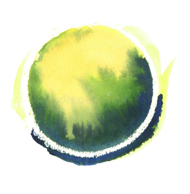 Ζωηρόχρωμη σφαίρα watercolor αφηρημένη ζωγραφική Μπλε, πράσινο και κίτρινο χρώμα Κενή πολύχρωμη λεκιασμένη περίληψη σύσταση Backg διανυσματική απεικόνιση