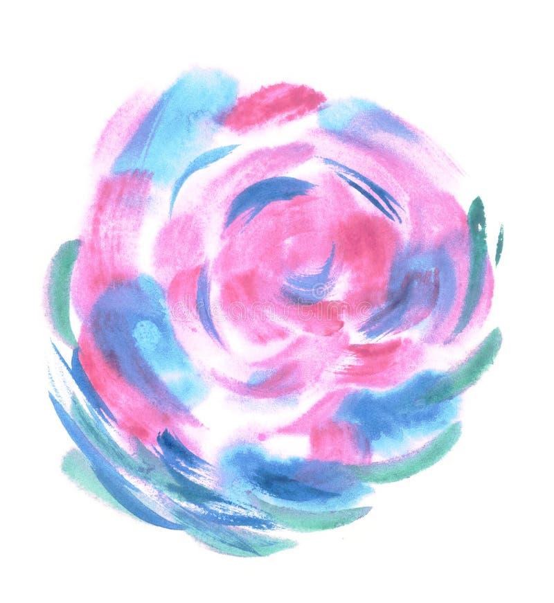 Ζωηρόχρωμη σφαίρα watercolor Χρωματισμένα στοιχεία σχεδίου Οφθαλμός Μπλε υγρό χέρι που χρωματίζεται γύρω από τον κύκλο κηλίδων αφ απεικόνιση αποθεμάτων