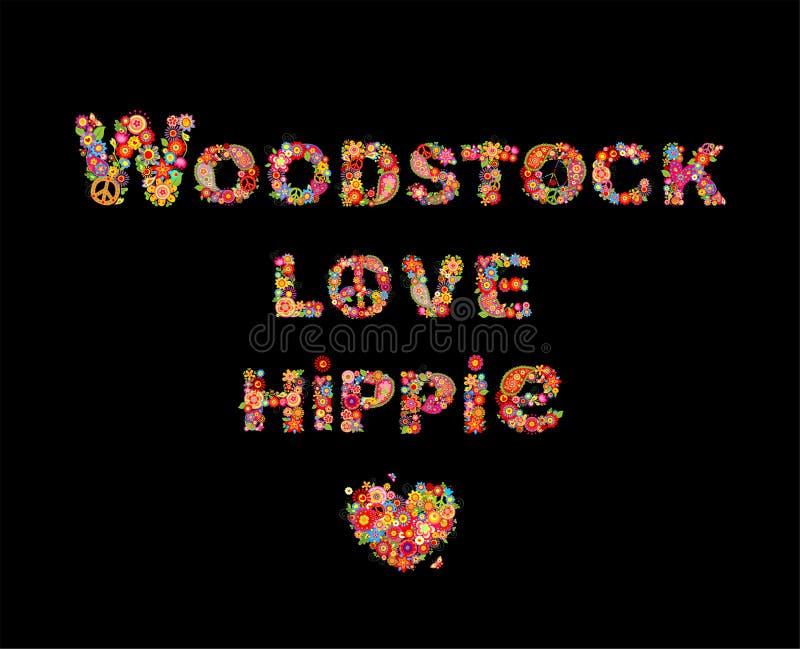 Ζωηρόχρωμοι Woodstock, η αγάπη και ο χίπης ανθίζουν την εγγραφή με το σύμβολο ειρήνης χίπηδων, μορφή καρδιών για την τυπωμένη ύλη διανυσματική απεικόνιση