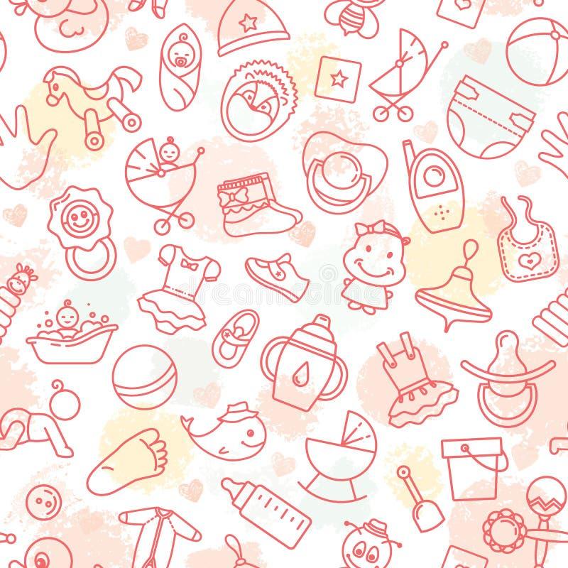 Ζωηρόχρωμος του άνευ ραφής σχεδίου των παιχνιδιών παιδιών και των διάφορων στοιχείων παιδιών στο ροζ ελεύθερη απεικόνιση δικαιώματος