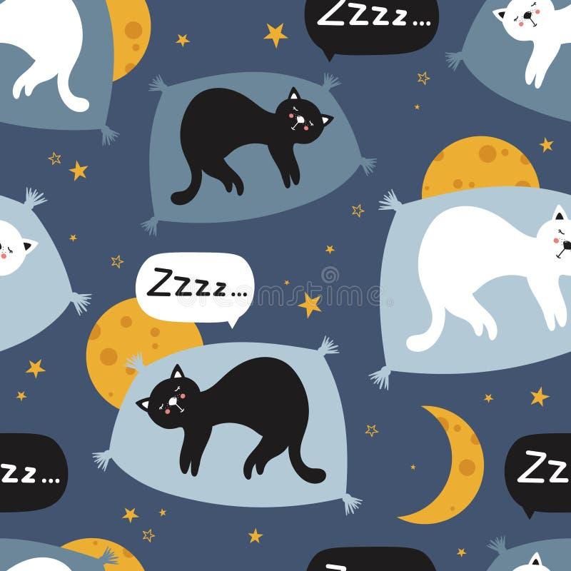 Ζωηρόχρωμο άνευ ραφής σχέδιο με τις γάτες ύπνου, φεγγάρια, αστέρια ελεύθερη απεικόνιση δικαιώματος