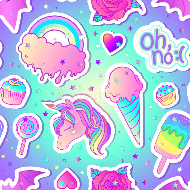 Ζωηρόχρωμο άνευ ραφής σχέδιο: ο μονόκερος, γλυκά, ουράνιο τόξο, παγωτό, lollipop, cupcake, αυξήθηκε, ρόπαλο επίσης corel σύρετε τ απεικόνιση αποθεμάτων