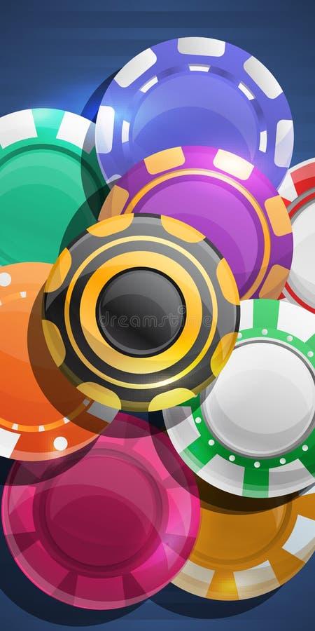 Ζωηρόχρωμο έμβλημα έννοιας τσιπ χαρτοπαικτικών λεσχών, ύφος κινούμενων σχεδίων διανυσματική απεικόνιση