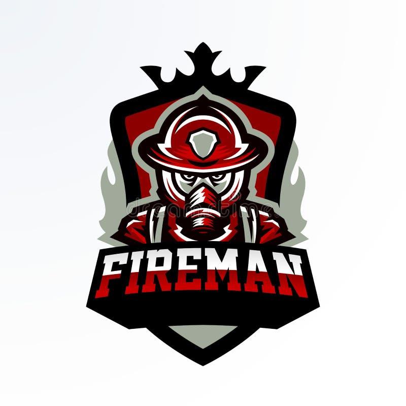 Ζωηρόχρωμο έμβλημα, αυτοκόλλητη ετικέττα, διακριτικό, logotype ενός πυροσβέστη σε μια μάσκα αερίου Μονάδα διάσωσης, προστατευτικό διανυσματική απεικόνιση