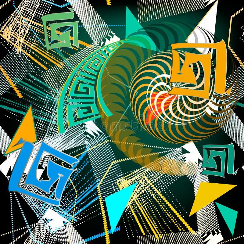 Ζωηρόχρωμο γεωμετρικό αστικό ελληνικό διανυσματικό άνευ ραφής σχέδιο ύφους Φυλετικό διακοσμητικό γεωμετρικό υπόβαθρο Διαστιγμένες διανυσματική απεικόνιση