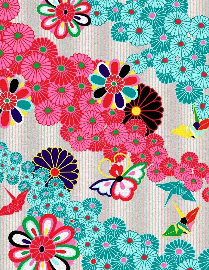 Ζωηρόχρωμο ιαπωνικό σχέδιο ύφους κιμονό διανυσματική απεικόνιση
