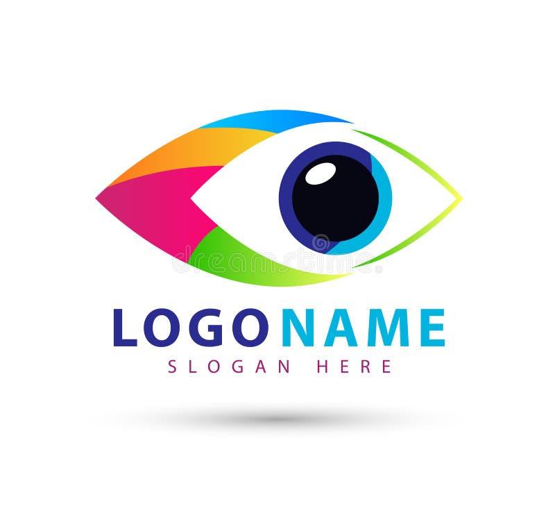 Ζωηρόχρωμο λογότυπο κλινικών ματιών, ματιών μελλοντικό διανυσματικό πρότυπο συμβόλων ομορφιάς σχεδίου λογότυπων οράματος διανυσμα διανυσματική απεικόνιση