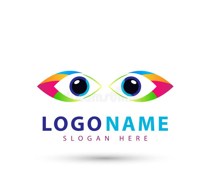 Ζωηρόχρωμο λογότυπο ματιών, ματιών μελλοντικό διανυσματικό πρότυπο συμβόλων ομορφιάς σχεδίου λογότυπων οράματος διανυσματικό ελεύθερη απεικόνιση δικαιώματος