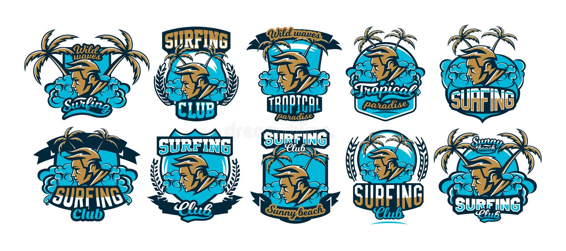 Ζωηρόχρωμο λογότυπο στο σερφ Το πρόσωπο εμβλημάτων surfer Παραλία, κύματα, φοίνικες, τροπικό νησί Ακραίος αθλητισμός, σύνολο διανυσματική απεικόνιση