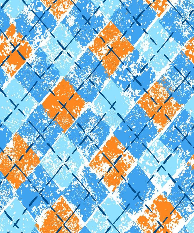 Ζωηρόχρωμο μπλε και πορτοκαλί γεωμετρικό ελεγμένο άνευ ραφής σχέδιο τυπωμένων υλών grunge argyle, διάνυσμα απεικόνιση αποθεμάτων