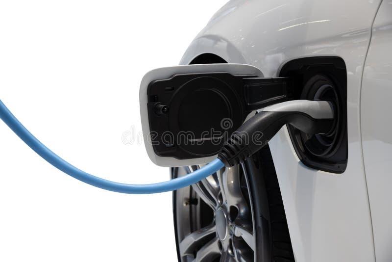 Ηλεκτρική χρέωση οχημάτων που απομονώνεται στο άσπρο υπόβαθρο στοκ φωτογραφίες