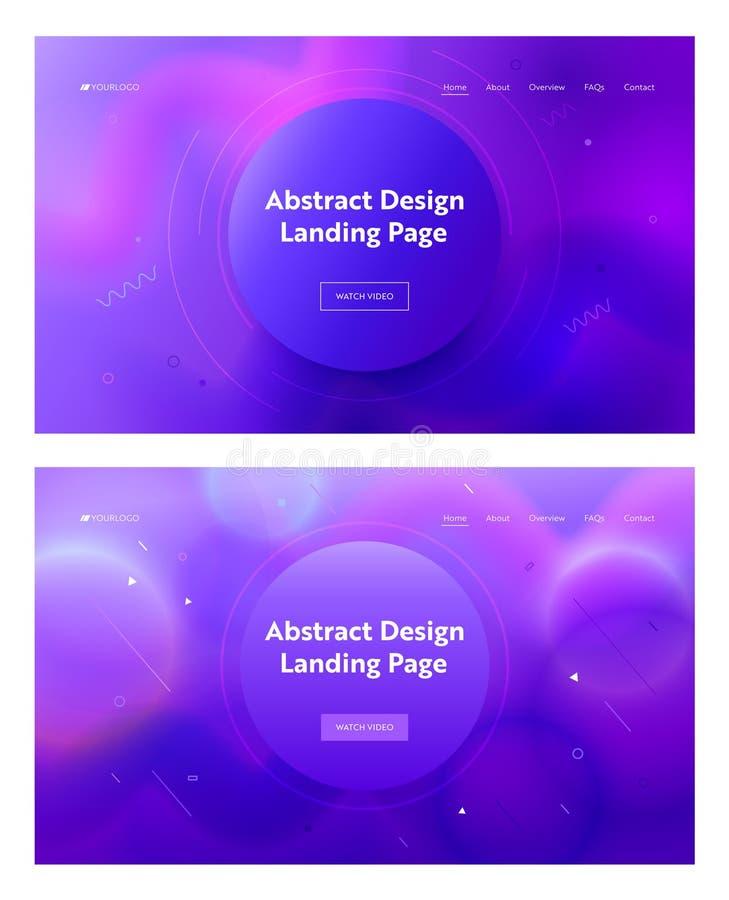 Ηλεκτρικό μπλε αφηρημένο κύκλων μορφής υπόβαθρο σελίδων σύνθεσης προσγειωμένος Γεωμετρικός ρόδινος καθορισμένος δημιουργικός σχεδ απεικόνιση αποθεμάτων