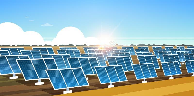 Ηλιακής ενέργειας επιτροπής τομέων ανανεώσιμη σταθμών εναλλακτική ηλεκτρικής ενέργειας πηγής ανατολή περιοχής έννοιας φωτοβολταϊκ διανυσματική απεικόνιση