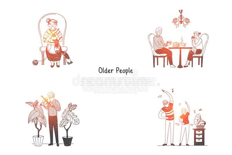 Ηλικιωμένοι - ηλικιωμένοι άνθρωποι που πλέκουν, τσάι κατανάλωσης, βιολί παιχνιδιού και παραγωγή των ασκήσεων με το διανυσματικό σ διανυσματική απεικόνιση
