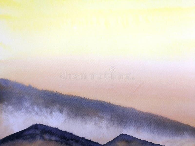 Ηλιοβασίλεμα ή ανατολή τοπίων ζωγραφικής Watercolor στην ομίχλη βουνών διανυσματική απεικόνιση