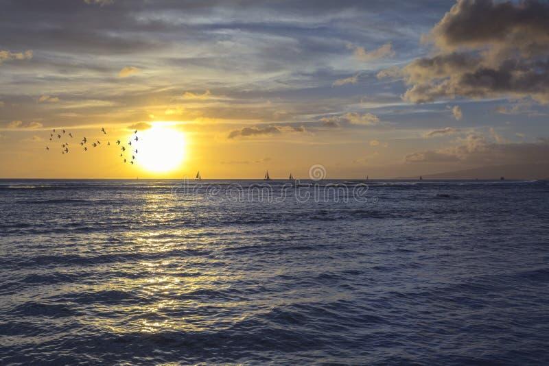 Ηλιοβασίλεμα από ένα τροπικό νησί παραλιών στοκ εικόνες με δικαίωμα ελεύθερης χρήσης
