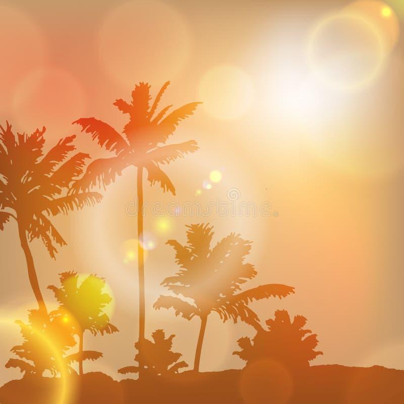 Ηλιοβασίλεμα θάλασσας με το νησί και τους φοίνικες διανυσματική απεικόνιση