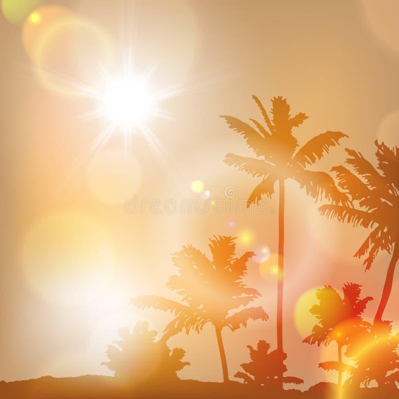 Ηλιοβασίλεμα θάλασσας με το νησί και τους φοίνικες ελεύθερη απεικόνιση δικαιώματος