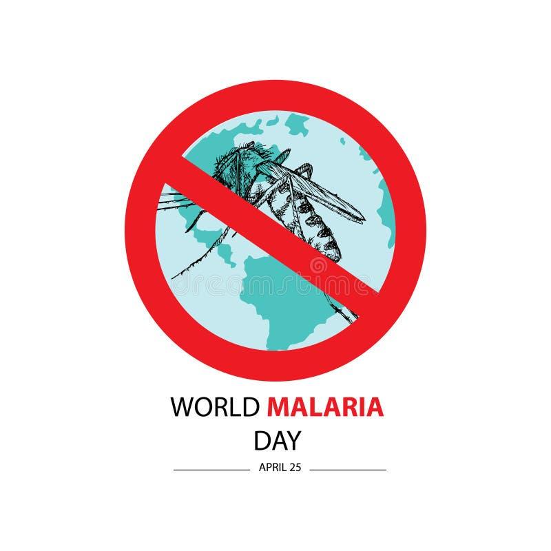 Ημέρα παγκόσμιας ελονοσίας 25 Απριλίου διανυσματική απεικόνιση
