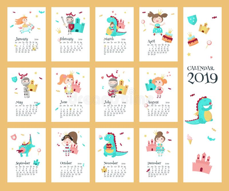ημερολογιακό διανυσματικό πρότυπο του 2019 με την πριγκήπισσα, ιππότης, δράκος απεικόνιση αποθεμάτων