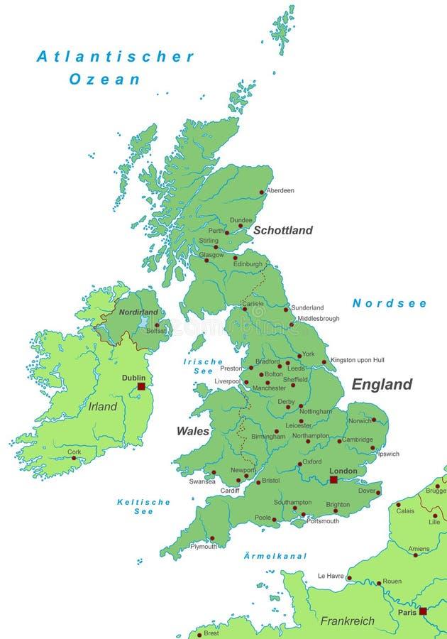Ηνωμένο Βασίλειο - χάρτης του Ηνωμένου Βασιλείου - υψηλός λεπτομερής ελεύθερη απεικόνιση δικαιώματος