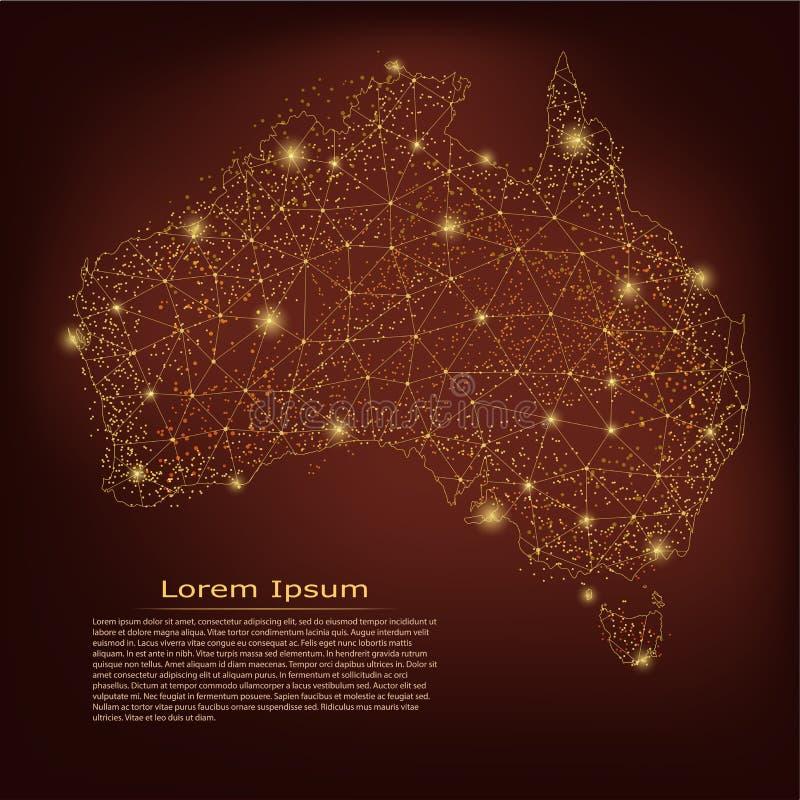 ηπειρωτικός χάρτης της Αυστραλίας πολιτικός Αφηρημένες κλίμακες γραμμών και σημείου πολτοποίησης στο σκοτεινό γεωμετρικό υπόβαθρο απεικόνιση αποθεμάτων