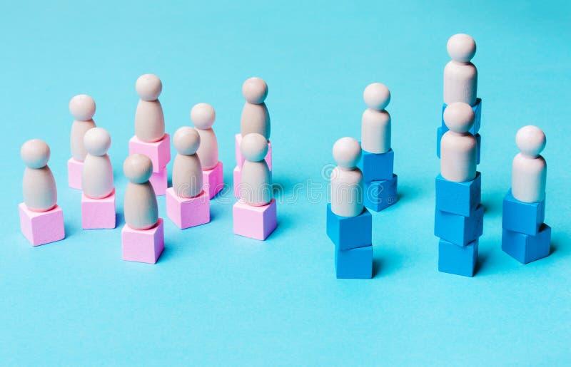 Η έννοια της οικονομικής, κοινωνικής ανωτερότητας των ανδρών πέρα από τις γυναίκες στοκ εικόνα