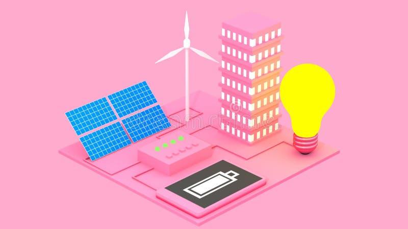 Η έννοια των εναλλακτικών οικολογικών πηγών ενέργειας ως μπαταρίες ήλιων και οι ανεμόμυλοι αφαιρούν την τρισδιάστατη απεικόνιση ελεύθερη απεικόνιση δικαιώματος