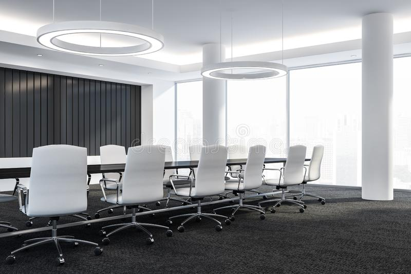 Η αίθουσα συνδιαλέξεων σύγχρονου σχεδίου με τα έπιπλα, τα μεγάλα παράθυρα και η άποψη πόλεων τρισδιάστατα δίνουν διανυσματική απεικόνιση