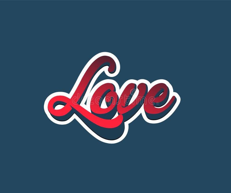 Η αγάπη λέξεων εγγραφής Ζωηρόχρωμη καλλιγραφία επιστολών διανυσματική απεικόνιση