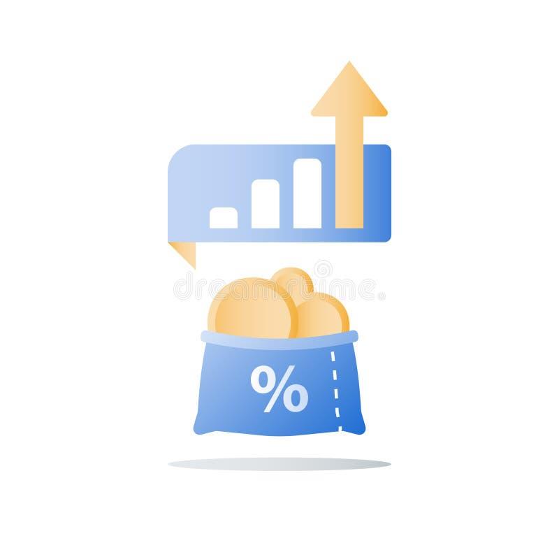 Η ανοικτή τσάντα με τα χρυσούς νομίσματα και το μίσχο εγκαταστάσεων, γρήγορη αύξηση χρηματοδότησης, αύξηση εισοδήματος, κερδίζει  απεικόνιση αποθεμάτων